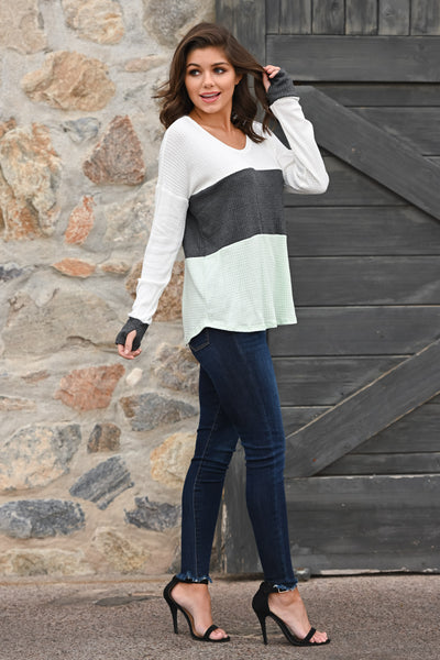 Home Again Color Block Top - Mint & charcoal women's long sleeve top, Closet Candy Boutique 1
