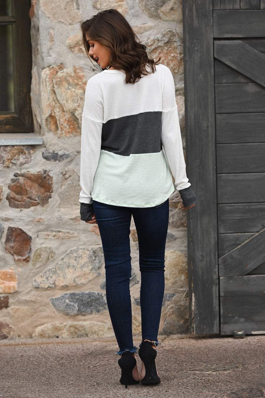 Home Again Color Block Top - Mint & charcoal women's long sleeve top, Closet Candy Boutique 2