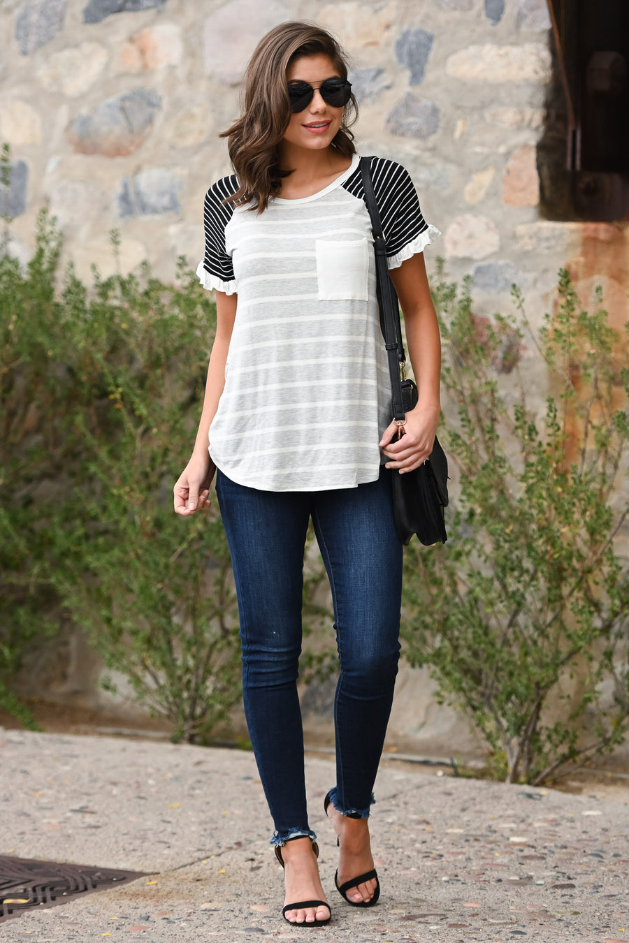 Dream Team Striped Top - Heather Grey & black women's tee with ruffle sleeves & chest pocket, Closet Candy Boutique 1