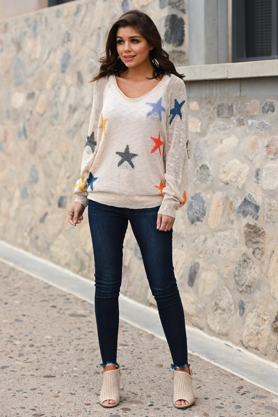 When Stars Align Top - Oatmeal women's colorful star print top, Closet Candy Boutique 1