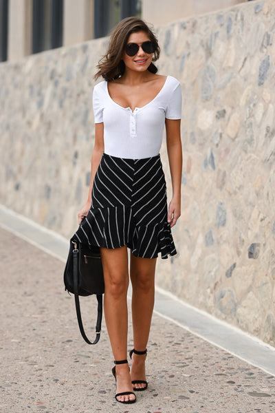 On My Way Up Striped Skirt - Black & white women's asymmetrical ruffled hem skirt, Closet Candy Boutique 4