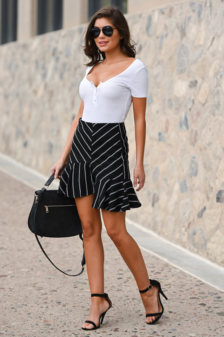 On My Way Up Striped Skirt - Black & white women's asymmetrical ruffled hem skirt, Closet Candy Boutique 1