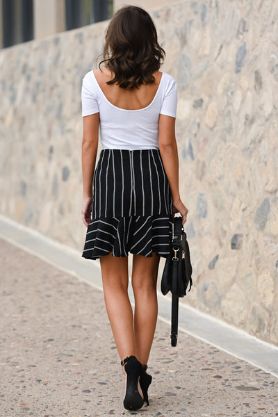 On My Way Up Striped Skirt - Black & white women's asymmetrical ruffled hem skirt, Closet Candy Boutique 3