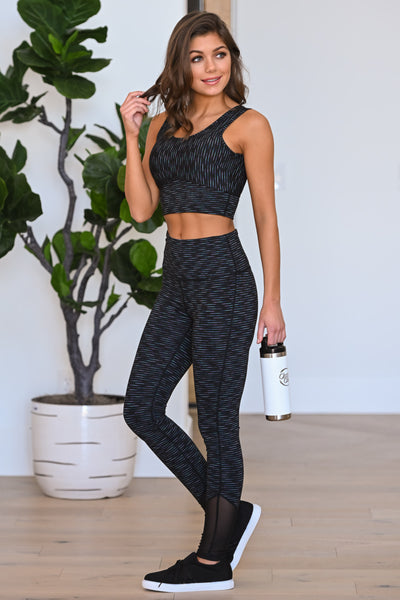 Queen Of Cardio Athletic Leggings - Black women's striped athleisure set, Closet Candy Boutique 4