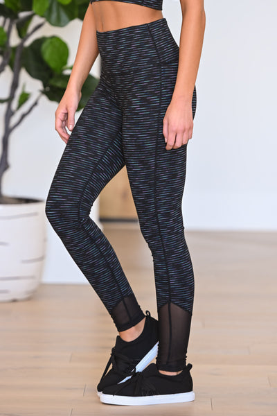 Queen Of Cardio Athletic Leggings - Black women's striped athleisure set, Closet Candy Boutique 1
