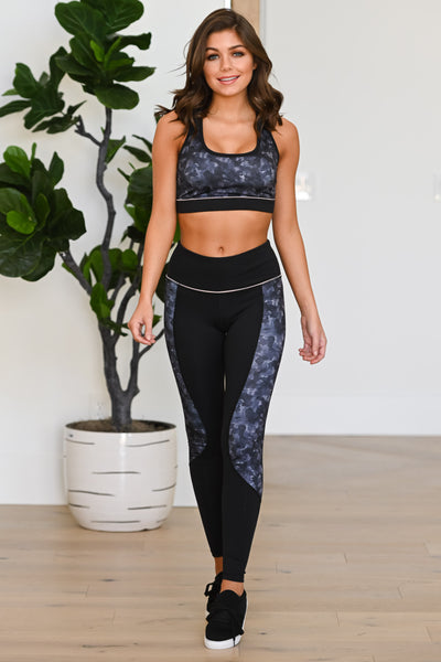 Squat Now, Wine Later Athletic Leggings - Black women's patterned athleisure set, Closet Candy Boutique 4