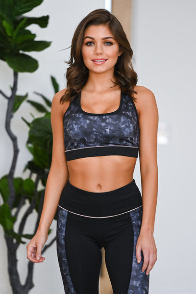 Squat Now, Wine Later Sports Bra - Black women's patterned athleisure set, Closet Candy Boutique 1