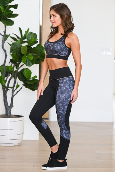 Squat Now, Wine Later Athletic Leggings - Black women's patterned athleisure set, Closet Candy Boutique 1