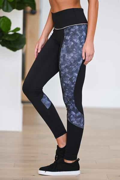 Squat Now, Wine Later Athletic Leggings - Black women's patterned athleisure set, Closet Candy Boutique 2