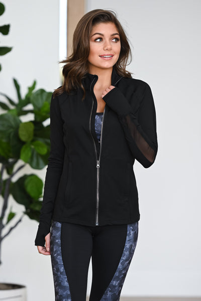 Barre Then Brunch Athletic Jacket - Black women's activewear jacket with mesh, Closet Candy Boutique 1