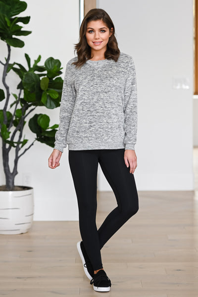 Hustle & Heart Sweatshirt - Grey women's activewear sweater, Closet Candy Boutique 4