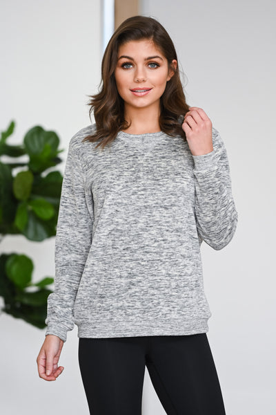 Hustle & Heart Sweatshirt - Grey women's activewear sweater, Closet Candy Boutique 3