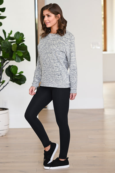 Hustle & Heart Sweatshirt - Grey women's activewear sweater, Closet Candy Boutique 2