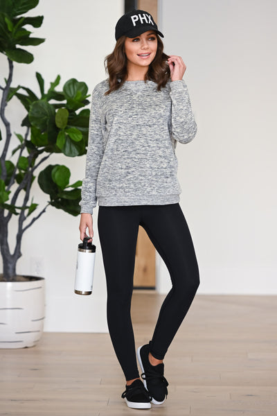 Hustle & Heart Sweatshirt - Grey women's activewear sweater, Closet Candy Boutique 1