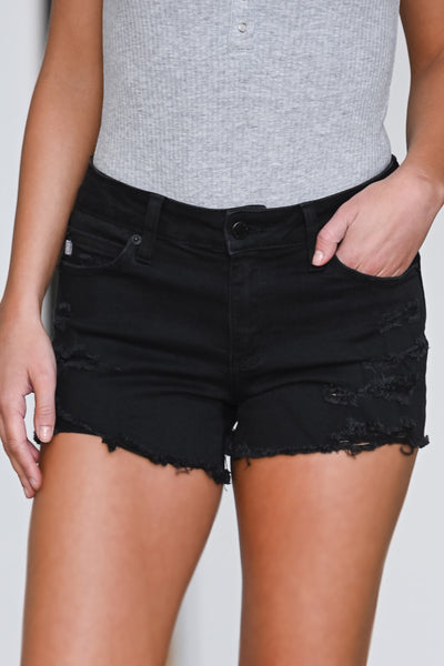 Spring Breaker Denim Shorts - Black women's distressed raw hem jean shorts, Closet Candy Boutique 1