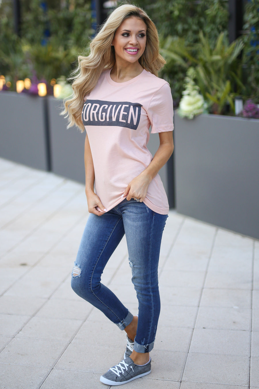 """Forgiven"" Tee - Peach short sleeve faith tee, front, Closet Candy Boutique"