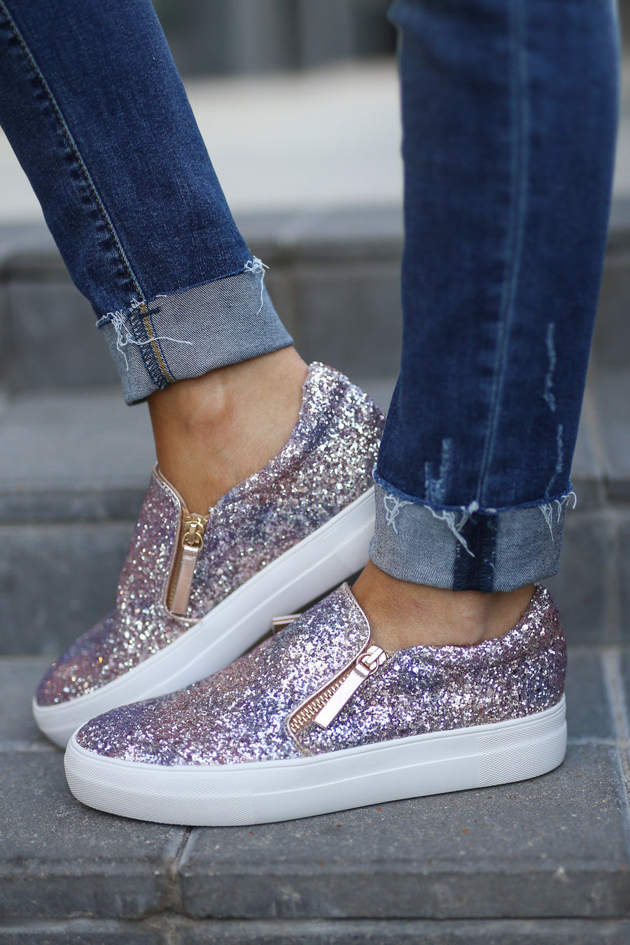 Rise & Sparkle Sneakers - Rose Gold glitter slip on sneakers, front, Closet Candy  Boutique