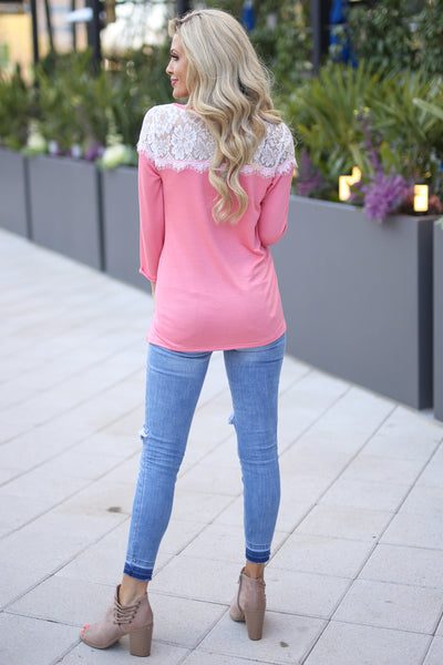 Cares to the Wind Top - Coral lace trim top, cute spring outfit, back, Closet Candy Boutique