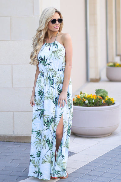 Tahiti Maxi Dress - Light Blue palm leaf print maxi dress, outfit, Closet Candy Boutique