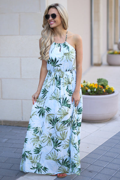 Tahiti Maxi Dress - Light Blue palm leaf print maxi dress, front, Closet Candy Boutique