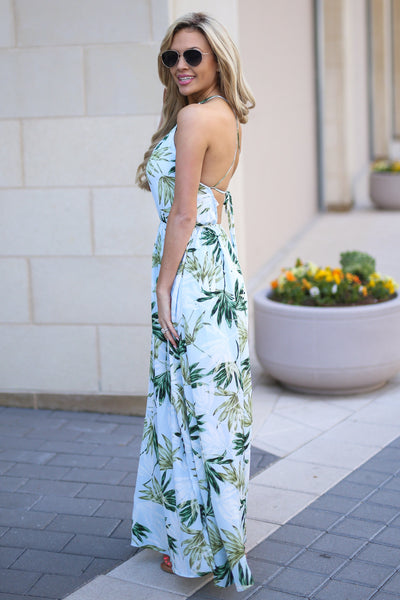 Tahiti Maxi Dress - Light Blue palm leaf print maxi dress, side, Closet Candy Boutique
