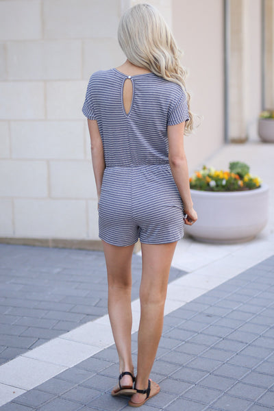 Bucket List Romper - Charcoal stripe short sleeve romper, cute vacation outfit, back, Closet Candy Boutique