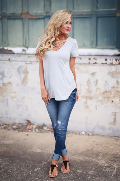 Blaze the Way Top - Heather Grey criss cross neckline top, front, Closet Candy Boutique