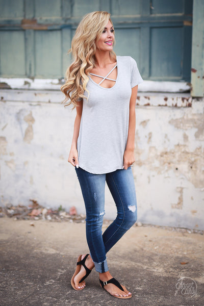 Blaze the Way Top - Heather Grey criss cross neckline top, side, Closet Candy Boutique