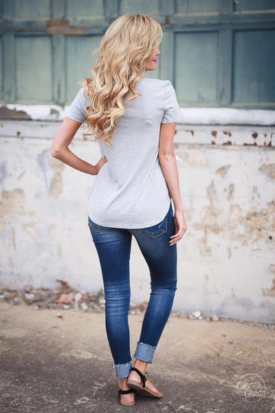 Blaze the Way Top - Heather Grey criss cross neckline top, back, Closet Candy Boutique