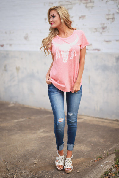 Song of the South Longhorn Tee - Coral