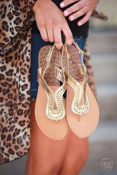 On the Road Again Sandals - Gold