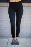 Next Level Athletic Leggings - black capri athletic leggings, workout pants, front view, Closet Candy Boutique 3
