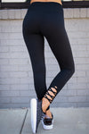 Next Level Athletic Leggings - black capri athletic leggings, workout pants, back view, Closet Candy Boutique