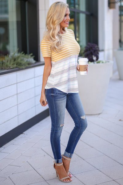 No Matter What Striped Top - Mustard women's color block tee, Closet Candy Boutique 3