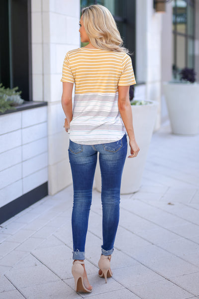 No Matter What Striped Top - Mustard women's color block tee, Closet Candy Boutique 4