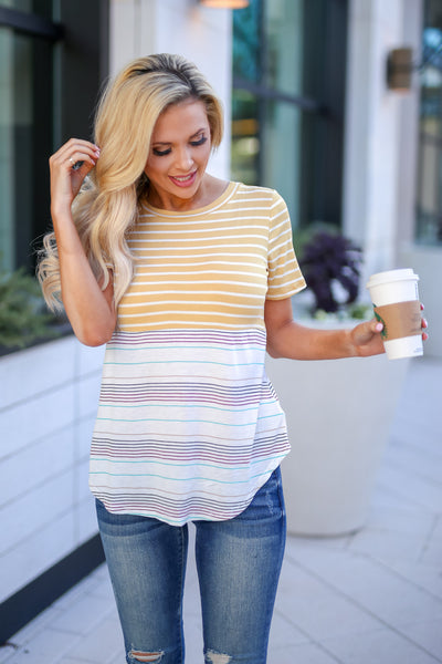 No Matter What Striped Top - Mustard women's color block tee, Closet Candy Boutique 2