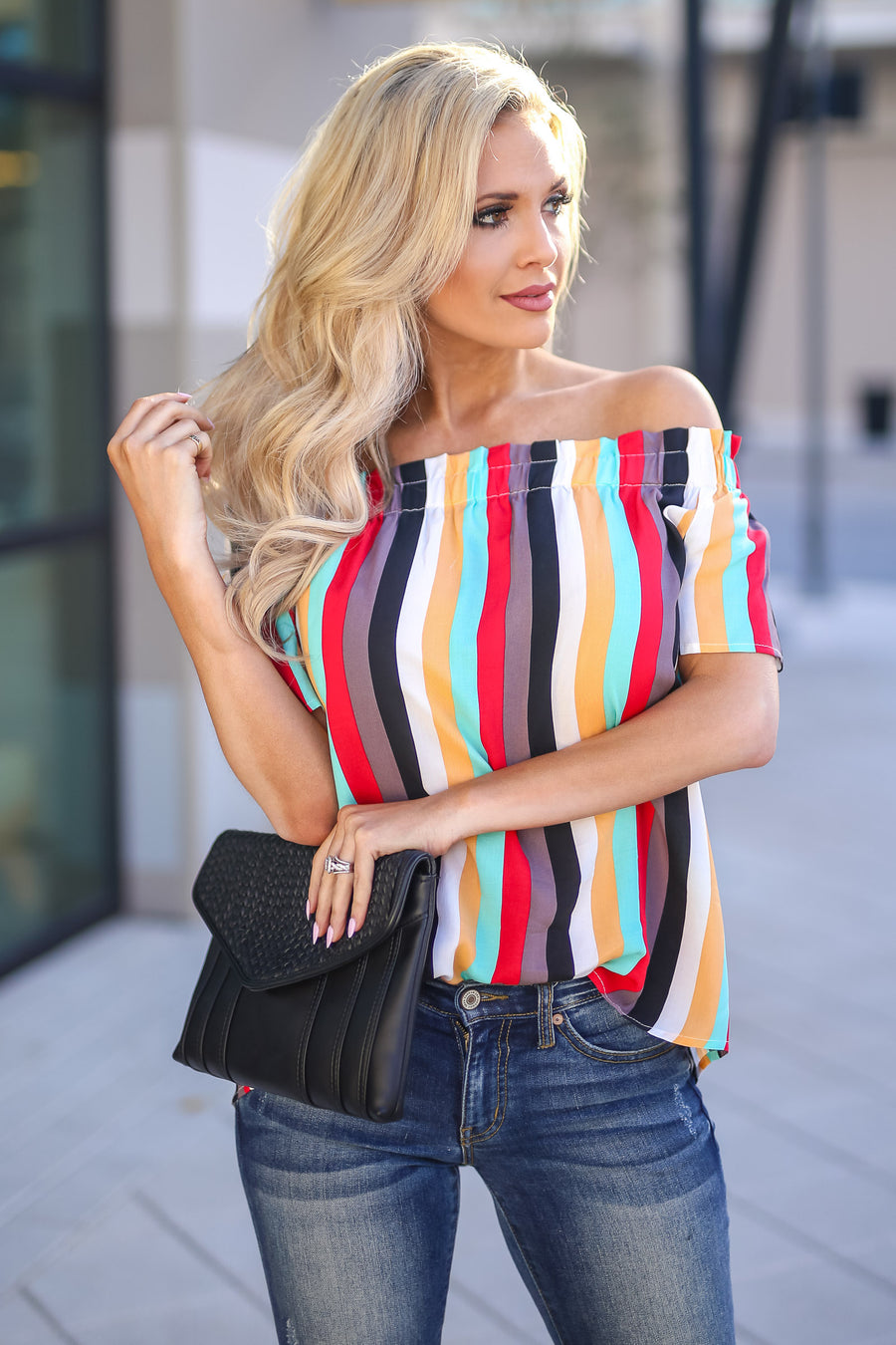 Work Of Art Striped Top - Multicolor women's colorful off the shoulder top, Closet Candy Boutique 1