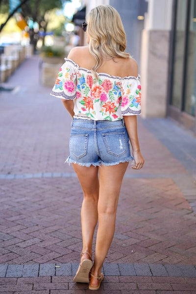Cabo Cruisin' Floral Top - Ivory women's off-the-shoulder cropped blouse, Closet Candy Boutique 3