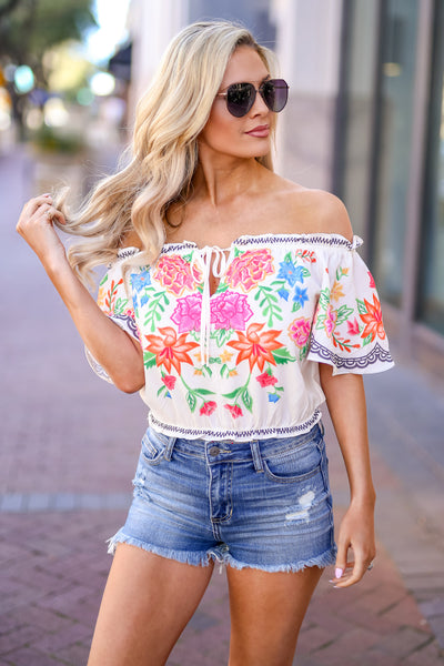 Cabo Cruisin' Floral Top - Ivory women's off-the-shoulder cropped blouse, Closet Candy Boutique 2