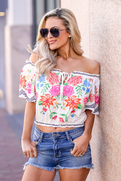 Cabo Cruisin' Floral Top - Ivory women's off-the-shoulder cropped blouse, Closet Candy Boutique 1