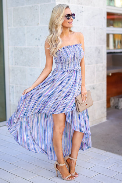 Summer Nights Striped Maxi Dress - Blue multicolor women's high-low dress, Closet Candy Boutique 3