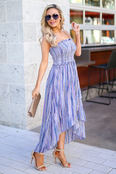Summer Nights Striped Maxi Dress - Blue multicolor women's high-low dress, Closet Candy Boutique 1