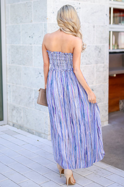 Summer Nights Striped Maxi Dress - Blue multicolor women's high-low dress, Closet Candy Boutique 4