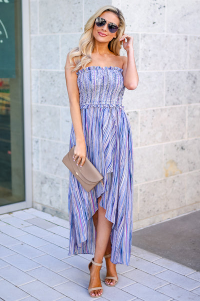 Summer Nights Striped Maxi Dress - Blue multicolor women's high-low dress, Closet Candy Boutique 2