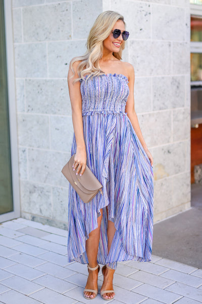 Summer Nights Striped Maxi Dress - Blue multicolor women's high-low dress, Closet Candy Boutique 5