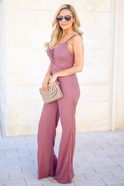 Just Your Type Jumpsuit - Plum women's lace-up front spaghetti strap jumper, Closet Candy Boutique 3