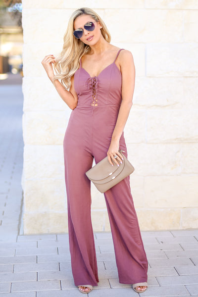 Just Your Type Jumpsuit - Plum women's lace-up front spaghetti strap jumper, Closet Candy Boutique 2