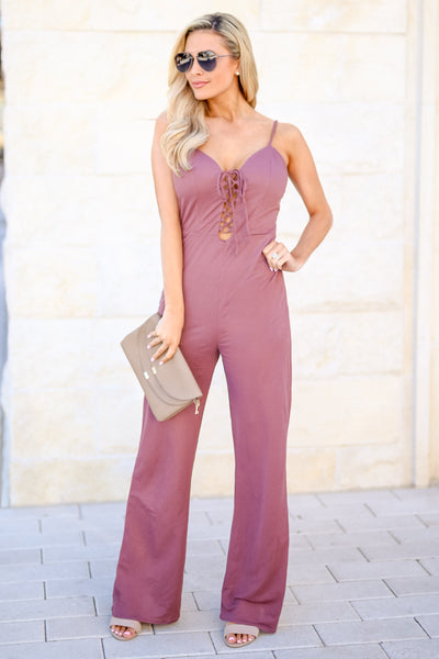 Just Your Type Jumpsuit - Plum women's lace-up front spaghetti strap jumper, Closet Candy Boutique 1