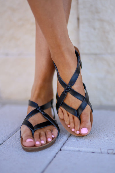Nadia Strappy Sandals - Black women's trendy casual flat sandals closet candy front