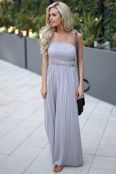 ELAN Santorini Maxi Dress - Grey strapless maxi dress with strappy back detail, front, Closet Candy Boutique